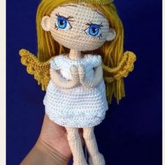 Micaela Angel amigurumi Crochet Doll Pattern, Crochet Dolls, Crochet Patterns, Crochet Hats, Patron Crochet, Amigurumi Doll, Smurfs, Baby Shower, Diy