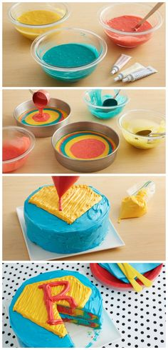 Groovy, man! This far-out tie-dye cake using classic superhero colors is sure to be a hit—and it's made by simply layering the red, blue and yellow batter before baking. To save yourself from day-of prep time, make the cake ahead and freeze, then thaw in the refrigerator two to three hours before frosting and assembling.