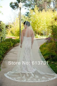Free Shipping 2014 Hot Sale  Babyonline Ivory White Bridal Veils with Lace Edge One Layer wedding dresses