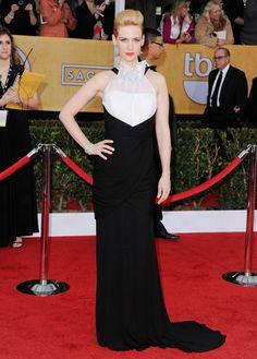 Premios sindicato de actores.January Jones, actriz de la serie 'Mad Men', con vestido de Prabal Gurung y joyas de Lorraine Schwartz