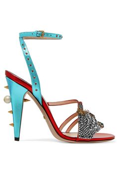 Gucci - Embellished Metallic Leather Sandals - Red - IT36.5