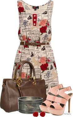 Yumi Rose and music print dress Red - House of Fraser Latest Fashion Clothes, Love Fashion, Fashion Outfits, Womens Fashion, Casual Outfits, Cute Outfits, Look Formal, Glamour, Work Attire