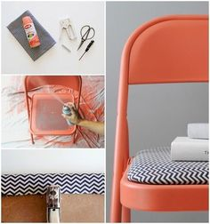 The perfect way to DIY a folding chair! Just add some paint and fabric to those super cheap folding chair. Diy Projects To Try, Home Projects, Home Crafts, Diy Home Decor, Diy Crafts, Fold Up Chairs, Metal Folding Chairs, Painted Metal Chairs, Painted Tables