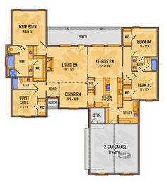 Colonial European House Plan 41515 Level One