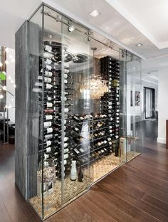 Modern wine storage unit, plenty of space for bottles, love the sliding glass doors.  Modern with a hint of barn.