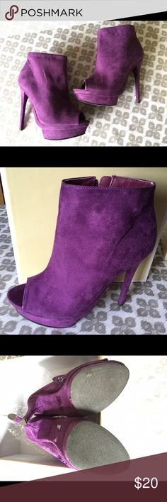 "Purple suede platform heeled  peep toe booties Fahrenheit size 9 purple suede platform booties with an adorable peep toe. Brand new in box. Never worn. 5.5"" heel and 1.5"" platform.  Show style and be fierce with confidence wearing these beauties. slightly too big for me so let my loss be your gain! Enjoy! Fahrenheit Shoes Ankle Boots & Booties"