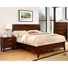 Furniture of America Kasten Modern 4-piece Brown Cherry Bedroom Set - 17383261 - Overstock.com Shopping - Big Discounts on Furniture of America Bedroom Sets