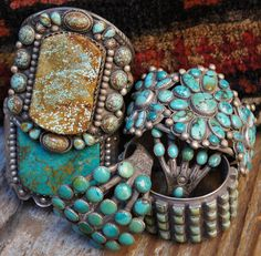 Luna's signature look includes lots of silver and turquoise jewelry like these amazing cuffs by Greg Thorne Turquoise.