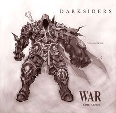 This is a character taken from the game Wrath of War. As you can see by the great detail of this character this appears to be a final concept art idea for the character of a 'darksider'. This is clearly an evil character as can be shown by the fact there is no facial features, just a dark blank. The character itself is very 'bulky' and has skulls as part of its body armour which makes it appear to be more evil. The darken shadows of the characters body armour make it seem more intimidating.