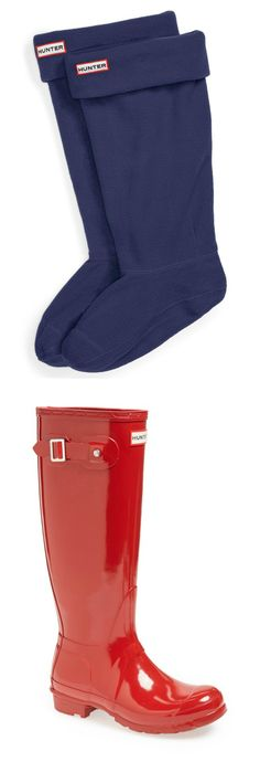 Perfect for rain, Winter favorite - Hunter rain boots and fleece welly socks.