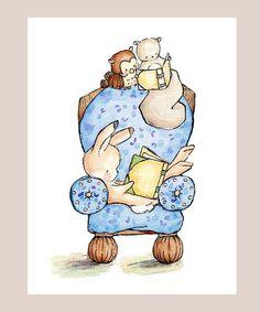 Reading Chair BLUE Children Art. PRINT 8X10. by LoxlyHollow