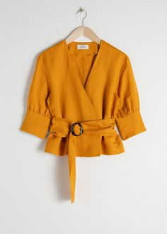 Belted Linen Blend Blouse - Mustard - Blouses - & Other Stories Fashion Story, Fashion Outfits, Womens Fashion, Fashion Fashion, Fashion News, Latest Fashion, Fashion Trends, Mode Abaya, Wrap Blouse