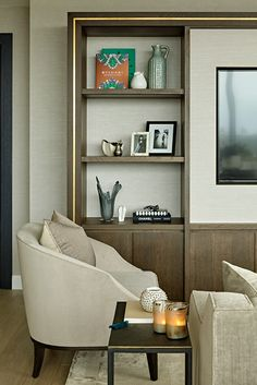 We designed this bespoke media unit crafted in dark wood with brass trim to create a striking and grounding focal point for the room. Living Room Built In Units, Built In Tv Unit, Living Room Interior, Living Room Decor, Dark Wood Furniture, Interior Decorating, Interior Design, Messing, Luxury Interior