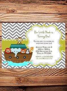 Noah's Ark Birthday Invitation Boy Girl Kids by StellarDesignsPro
