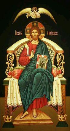 Christ Enthroned (on black), large icon Byzantine Icons, Byzantine Art, Religious Icons, Religious Art, Christus Pantokrator, Religion, Images Of Christ, Jesus Christus, Christ The King