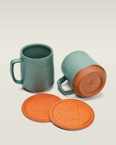 Coffee Set -  Two 12oz mugs and two leather coasters