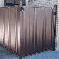 Clôture intime en acier brun   Private steel brown fence   Clôture Boucher   450-516-0264