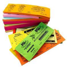 Tickets de Tombola Les tickets de tombola peut être livrée sous forme de carnet à souche Peut être décliné pour les billets d'entrée de concert ou spectacle A vous de sélectionner la formule qui vous convient ! Options : Numérotage Aucune 1 souche 2 souches Papier : 80 g Format : h. 21 x l. 7 cm Impression : Noir Spectacle, Impression, Flyers, Packaging, Concert, Tree Stump, Pos, Carte De Visite, Paper