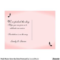 Sold 70 Pink Music Save the Date Postcard