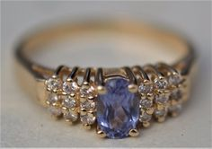 ESTATE 14K YELLOW GOLD TANAZANITE & DIAMOND RING-SIZE 5.75 585-.57CT TGW BH #BH #SolitairewithAccents