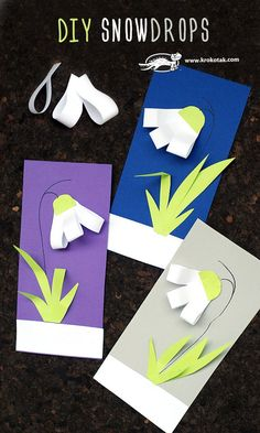 Snowdrops craft for kids Chinese New Year Crafts For Kids, Spring Crafts For Kids, Diy For Kids, Spring Activities, Activities For Kids, New Year's Crafts, Diy Crafts, Diy Paper, Paper Crafts