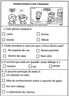 Resultado de imagem para avaliações de portugues 1 ano fundamental com tirinhas