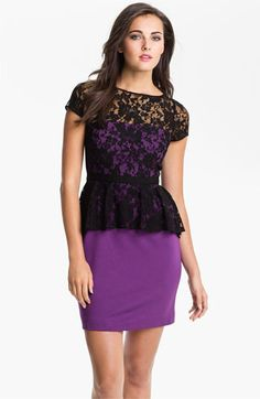 Donna Morgan Lace Overlay Peplum Dress available at #Nordstrom