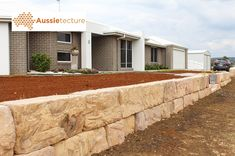 Aussietecture natural stone supplier has a unique range natural stone products for walling, flooring & landscaping. Retaining Wall Blocks, Concrete Retaining Walls, Stone Retaining Wall, Landscaping Retaining Walls, Back Garden Landscaping, Texas Landscaping, Sandstone Cladding, Sandstone Wall, Natural Stone Wall