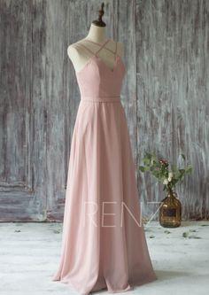 2016 Long Chiffon Bridesmaid Dress Straps Dusty Rose por RenzRags
