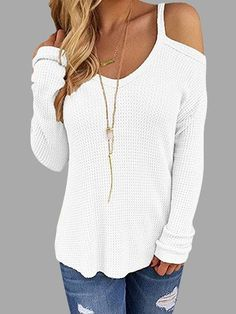 White Beige Thin Shoulder Cold Shoulder Long Sleeve T-shirt - US$21.95 -YOINS