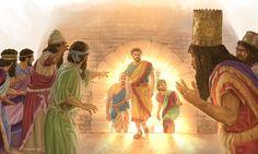 Nabucodonosor fica assustado quando vê Sadraque, Mesaque e Abednego saindo vivos da fornalha ardente