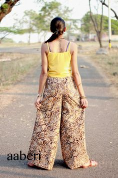 Brown Cotton PALAZZOS WIDE legged HAREMS Harem Pants by aaberi