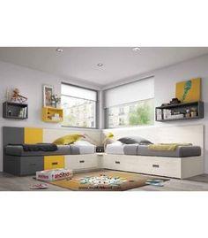 Dormitorio con dos camas en esquina con cama nido, cajones, estantes y friso. La decoración deldormitorio juvenil moderno es en colores actuales.