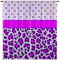 Purple Polka Dot Curtains - Cheetah Print - Purple Curtain - Kids Custom Size…