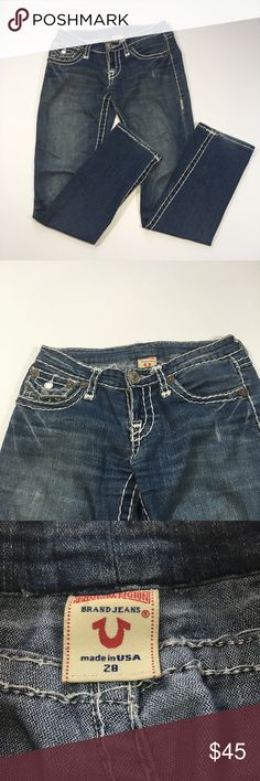 "True Religion Boot Cut Jeans Size 28 True Religion. Size 28. These pants were well loved by my cousin who hates to part with them but she must due to her upcoming baby. Everything sold goes towards the baby fund.  Waist flat 14 1/2"" Inseam 32"" Rise 7"" True Religion Jeans Boot Cut"