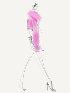 Pink Tartan- Fall 2013 / Illustration by Danielle Meder Using swipes instead of brush strokes, Canadian illustrator Danielle Meder sketches her favourite looks from the runway rooms at Toronto Fashion Week