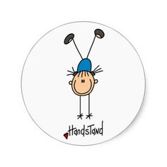 Stick Figure Girl Doing Handstands Stickers