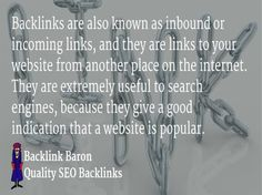 Try Our 100% Safe SEO Link building Service Today. Buy quality seo Links Online or Call us. Links from high pr websites to your own website equate to 'votes' for search engines. Backlink Baron work on...