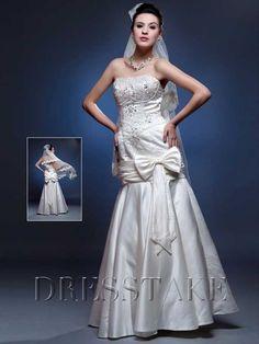 Shining A-line Strapless Floor-length White Wedding Dresses , US$105.99