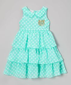 Take a look at this Aqua & White Polka Dot Tiered Sabri Dress - Infant, Toddler & Girls on zulily today! Toddler Dress, Toddler Outfits, Baby Dress, Kids Outfits, Infant Toddler, Toddler Girls, Baby Girl Dress Patterns, Little Dresses, Little Girl Dresses
