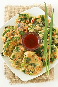 SAVED: So tasty and savory!!! Chinese Savory Pancakes.  Used green onion, carrots, zucchini, broccoli sprouts, mushrooms, shrimp. Serve with sweet chili sauce or: 1/2 tbsp rice wine vinegar, 2 tbsp soy sauce, 1 1/2 tsp sugar, dash sesame oil, opt hot red pepper flakes