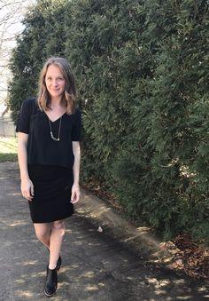 Grana Silk Shirt + Everlane Ponte Skirt + Madewell Boots | Lindsey Kubly