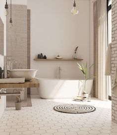 Bathroom Floor Ideas and Designs - Freistehende badewanne - Bathroom Decor Beautiful Bathrooms, Modern Bathroom, Small Bathroom, Bathroom Ideas, Bathroom Designs, Cosy Bathroom, Bathroom Organization, White Bathroom, Rental Bathroom