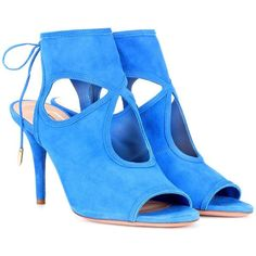 Aquazzura Sexy Thing 85 Suede Sandals ($520) ❤ liked on Polyvore featuring shoes, sandals, blue, suede leather shoes, sexy sandals, aquazzura, aquazzura sandals and blue shoes