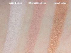 L'Oreal Infallible Colour Riche Mono Eyeshadows, Loreal Mono Shadows, Loreal Monos, Paris Beach Swatch, Little Beige Dress Swatch, Sunset Seine Swatch