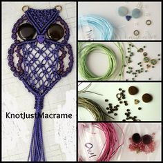 Micro macrame owl tutorial and kits by Knot Just Macrame … Macrame Owl, Macrame Jewelry, Macrame Bracelets, Owl Patterns, Macrame Patterns, String Crafts, Macrame Curtain, Micro Macramé, Owl Crafts