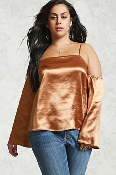 Product Name:Plus Size Open-Shoulder Satin Top, Category:plus_size-main, Price:9.95