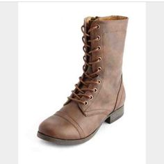 Brown Lace Up Leather Combat Boots