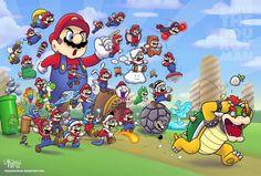 Mario's Power Ups vs Bowser - Mario - Bowser -Power Ups - Nintendo - fan art - fanart Super Mario World, Super Mario Bros, Mundo Super Mario, Super Mario Kunst, Super Mario Brothers, Super Smash Bros, Mario Und Luigi, Mario Run, Mario Bros.