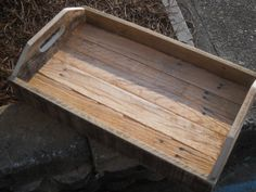 This serving tray is made from reclaimed pallet wood. This tray has a rustic look and has been left in its natural form. If you would like it